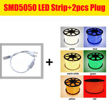 DHL Free Shipping 100m/roll 110V 220V RGB 5050 Waterproof Flexible LED Strip+ Free Plug 60leds/m LED Lighting dimmable(China)