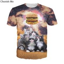 Worship the Burger T-Shirt Adorable Kittens Desire Cats with Biling eye Vibrant Galaxy t shirt Casual Summer Style  tops