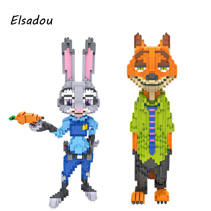 Elsadou LOZ Diamond Blocks Zootopia DIY Building Toys Fox Nick Wilde and Rabbit Judy Hopps 9029 9030<br>