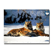 100% full square drill ,new needlework Snow tiger,3d diamond painting ,diy cross stitch embroidery tiger picture of rhinestones