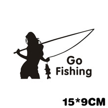 Hot Sale 3D beauty go fishing car stickers car decoration New outdoor sport car styling for honda toyota mazda opel(China)