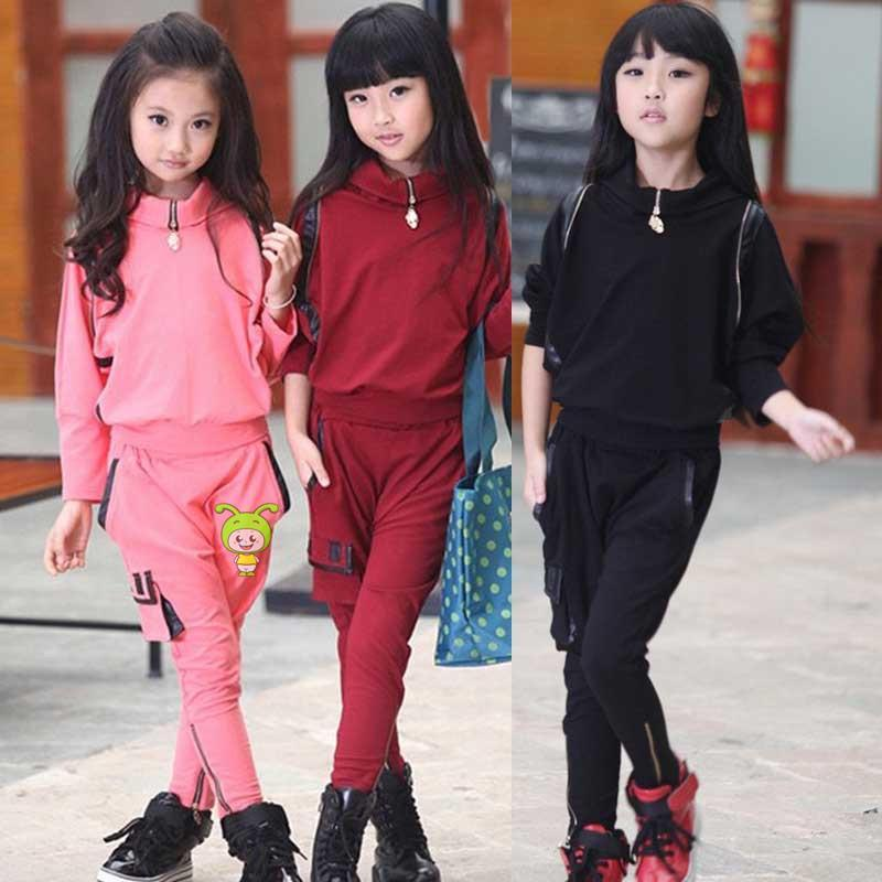 Fashion Girls Clothing Set Chinese Pink Red Black Cotton Sports Suit For 3-10 Years Old Girls Clothes Girl KS-1504<br><br>Aliexpress