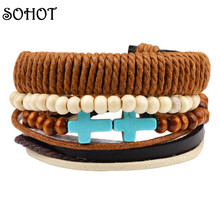 SOHOT Trendy Handwoven 2 Crosses Charms Wrapped Bracelets Wood Beads Turkish Stone Layers Leather Hemp Friendship Men Women Gift