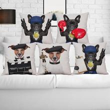 Cute Cartoon Dog Pillow Case Funny Puppy French Bulldog With Red Gloves Boxing Cushion Cover Fighting Championship Trophy