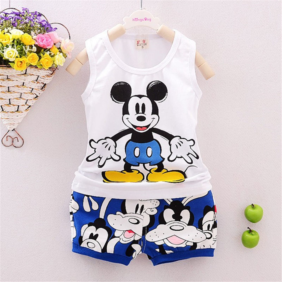 New Mickey Baby Boy Clothing Set Sleeveless Shirt and  Shorts Kid Vest Clubhouse Toddler Short Sleeve Tee 2 PC Boys Short Set<br><br>Aliexpress