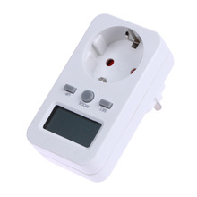 EU Plug Digtal Energy Meter Socket Plug-in Electric Power Meter Energy Monitor LCD Display