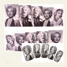 New Fashion Nail Art Water Decals Transfer Stickers Marilyn Monroe Image Speciific Stylish Plum Blossom Free Shipping