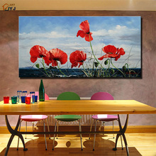 JYJ Art Blue Sky Red Flower Canvas Wall Art Picture Handpainted Modern Abstract Oil Painting Home Decor Gift No Frame SL069