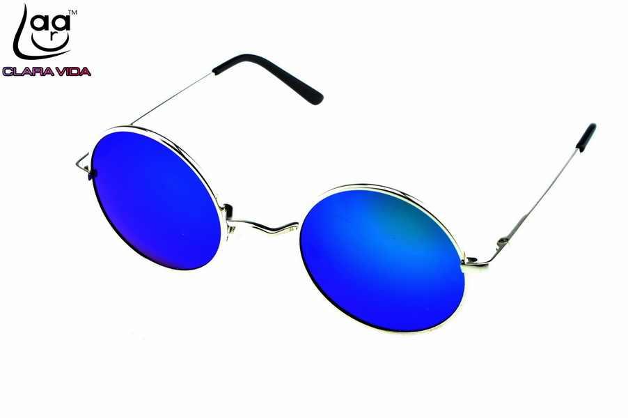 b8af761cbe7 CLARA VIDA OZZY BLUE GREEN MIRROR LENSES ROCK STYLE RETRO 100% POLZRIZED  ROUND SUNGLASSES