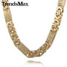 Trendsmax Gold-color Greek Pattern Byzantine Link Stainless Steel Chain Mens Necklace KN269