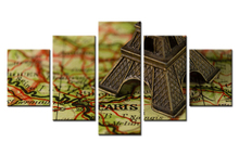 5 Pieces HD Print Painting Retro Map Eiffel Tower Paris Picture For Modern Decorative Bedroom Living Room Art Decor Wall(China)