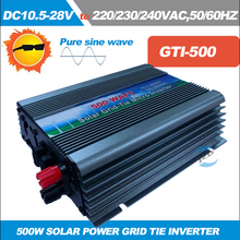 Free shipping!! MPPT 500W Grid Tie Inverter for 18V Solar Panel DC 10.5~28V to AC110/220V,50/60Hz Pure Sine wave Inverter