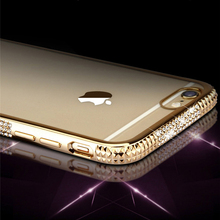 Glitter Bling Electroplating Diamond phone cases for iphone 6 three rows Rhinestone Case back covers For iPhone 6 6S 7 Plus