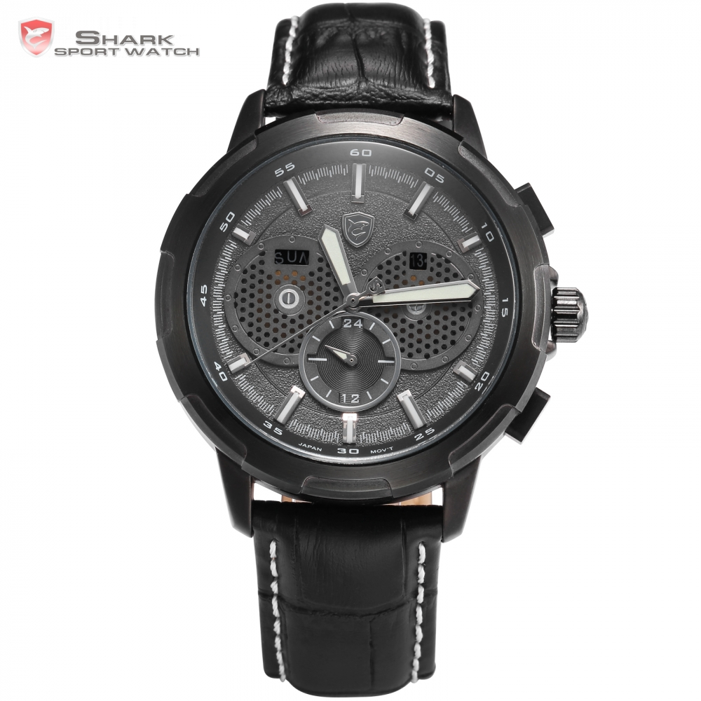 Horn Shark Sport Watch Auto Date Day Display Black Case Dial Luminous Hands Leather Band Quartz Men Wristwatch Timepiece /SH359(China (Mainland))