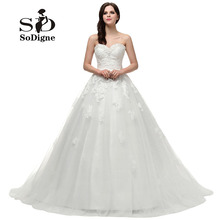 Buy Wedding Dress 2017 SoDigne Sweetheart Beaded Rhinestone Delicate Appliques Lace-Up Vestido De Noiva Romantic Hot Sale for $138.04 in AliExpress store