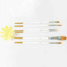 6pcs/Set Pointed Tip  White Bar Nylon Hair Paint Brush Watercolor Acrylic Brush Artists  Art Supplies