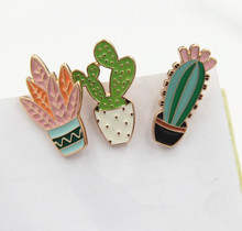 Free Shipping Enamel Cactus Metal Brooch Collar Jeans Clothes Badge Pin Accessories Wholesale