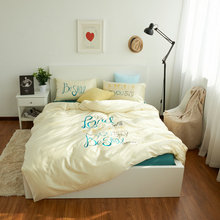 100 Cotton Art Letter Bedding Set Bed Sheet Light green Duvet Cover Embroidered Queen King Comforter Sets Cotton Bed Linen(China)
