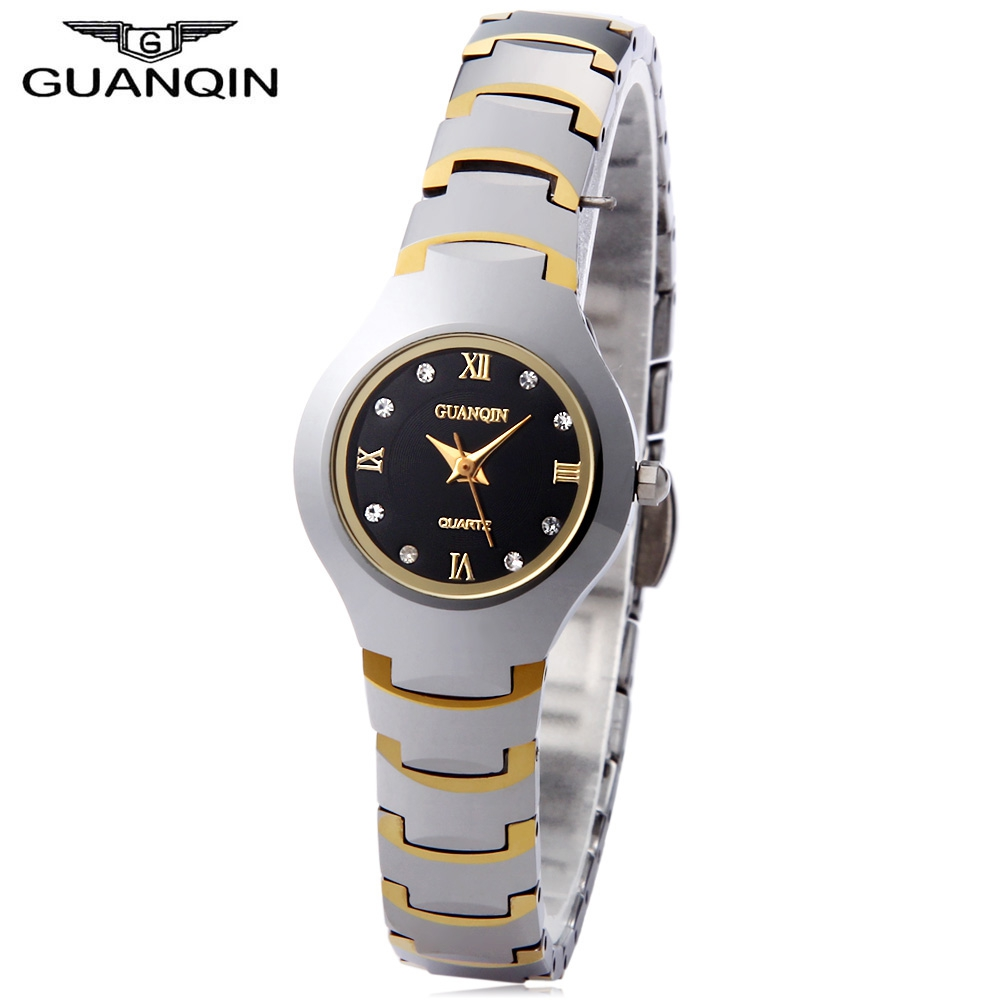 GUANQIN Women Quartz Watch 10ATM Artificial Diamond Dial Tungsten Steel Band Wristwatch<br><br>Aliexpress