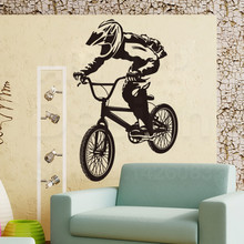 Art New Design house decor Vinyl bicycle sports Wall Decals removable PVC home decoration colorful bike athlete Sticker in room(China)