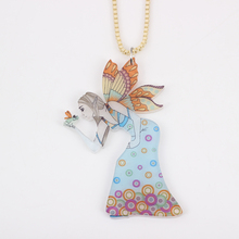 unique design  wings angle cute girl acrylic pendant & necklace figure for girls woman fashion lovely new 2014 free shipping