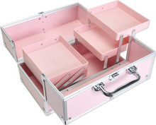 FB101P 30 x 17.5 x 18 cm Facebox Aluminum Cosmetic Case Beauty Box Makeup Case with Inner Two Layer Tray PINK(China)