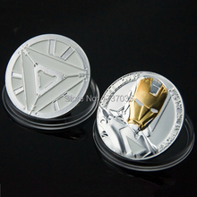 2 PCS ampler coin Hollywood movie The Avengers Iron Man Challenge Coin Christmas Gift silver plated Coins