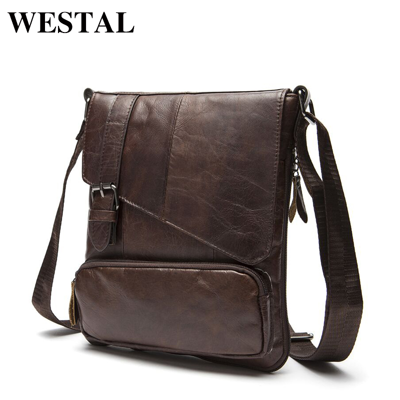 WESTAL Genuine Leather Men Messenger Bag Man Crossbody Shoulder Handbag Cowhide Leather Men Bags Male Casual Bag 8239<br>