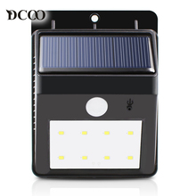 Dcoo Solar Lamps 8 LEDs Bright Security Wireless Motion Sensor Solar Panels Power Outdoor Garden Lights LED Solar Lamp Lights(China)