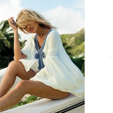 Women's Embroidery Long Sleeve Pompom Beach Cover up Tunic Dress(China)