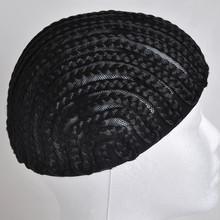 Braided Cap Crochet Synthetic Braids Wig Cap Fish Spun Net Base Glueless Weaving Wig Lace Caps 2pcs/lot Black Size S/M/L(China)