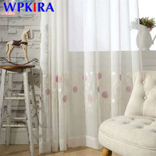 Modern 3D Round Embroidered Pink Curtain For Kid Girls Bedroom Soft Fabric White Sheer Voile Curtain Living Room Tulle FQ021D3(China)