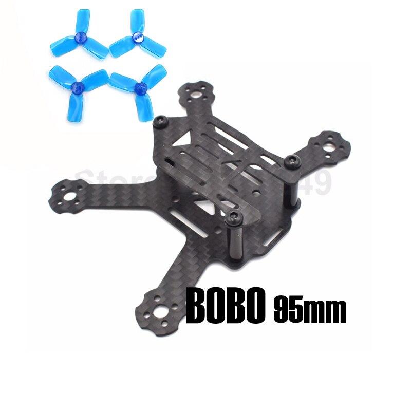 BOBO 95mm 95 Carbon Fiber Frame Kit Mini Light For Indoor Interior RC FPV Cross Racing Drone Quadcopter 2 Propeller  +<br><br>Aliexpress