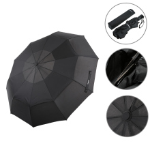 Automatic Folding Umbrella Double Canopy Umbrella Automatic Auto Open Close Umbrella Travel Golf Umbrella with 10 Ribs(China)