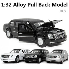 DTS Cadillac President Car, 1:32 scale Alloy Pull Back cars,Black, white, silver,Diecast World cars gift,,free shipping