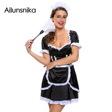 Ailunsnika Hot Sales New Fashion 2017 Woman Sexy Flirty Mistress Maid Sexy Cosplay Fantasia Carnival Halloween Costumes DL89020(China)