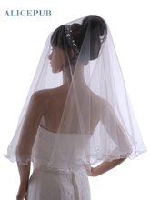 Ivory One Tier Voile Wedding Veil with Pencil Edge Handmade Bridal Veil Soft Tulle Bride Hair Accessory 2017 New Free Shipping