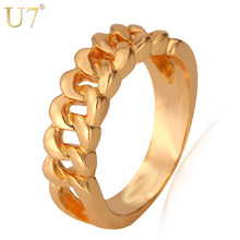 U7 Chain Ring,Knot Ring,Unique Design Gold Color 5mm Women/Men Celtic Jewelry Party Fashion R357(China)