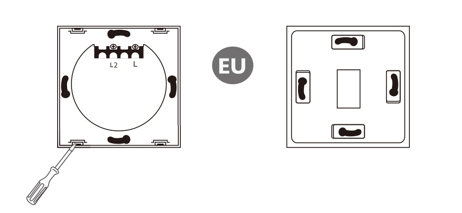 Funry ST1 1Gang EU Standard Smart Switch Remote Control/Touch Wall Light Touch Switch 170-240V Surface Waterproof Glass Panel