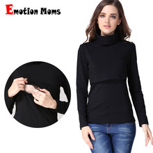 Emotion Moms Turtlenecks Maternity Clothes nursing top T-shirt for Pregnant Women casual Feeding Maternity Breastfeeding tops(Hong Kong,China)