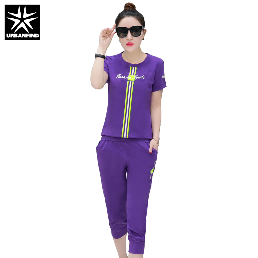 URBANFIND Solid Color Women Summer Clothing Sets Size M-5XL Comfortable Style Woman Casual Tracksuits Lady Slim Tracksuits(China)