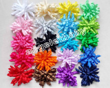 "12pcs renda 3.5"" korker ponytail hair ties holders streamer corker hair bows clip Cheer Bows Curly Ribbon Bow hair bobbles PD006(China)"