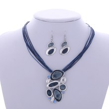 New Arrival Blue Multi Layers Necklace Earring Set For Women Oil Drip Design Silver Pendant Jewelry Set Statement Accessory