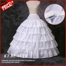 High Quality White 4 Hoops 5 Layers Petticoat 10 designs Crinoline Slip Underskirt Bridal Gown In Stock(China)