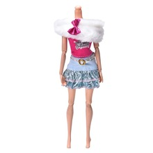 "Three-piece Clothing White Fur Collar Skirt Suit for Barbie 11"" Dolls Pink Vest Fashion Clothes"