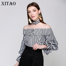 [XITAO] Europe 2017 Summer Fashion Casual Female Striped Bow Full Sleeve Shirt Women Slash Neck Butterfly Sleeve Blouse CXB375(China)