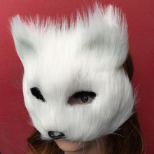 Mask Anonymous Animal Party White Plastic Villus Arctic Fox Mask Cosplay Party Upper Half Face Halloween Masks Cat,Masquerade