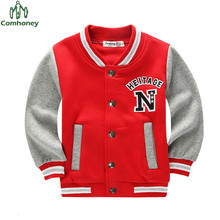 Boys Jacket Letter Pattern Student Baseball Wear Patchwork Boys Sweatshirt Girls Outerwear Casual Children Coat Sports Clothing