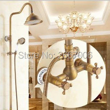 Luxury Wall Shower Set Antique Copper Bath Faucet With Shower Best Gift Shower Mixer Home Improvement Free Shipping GI238(China)