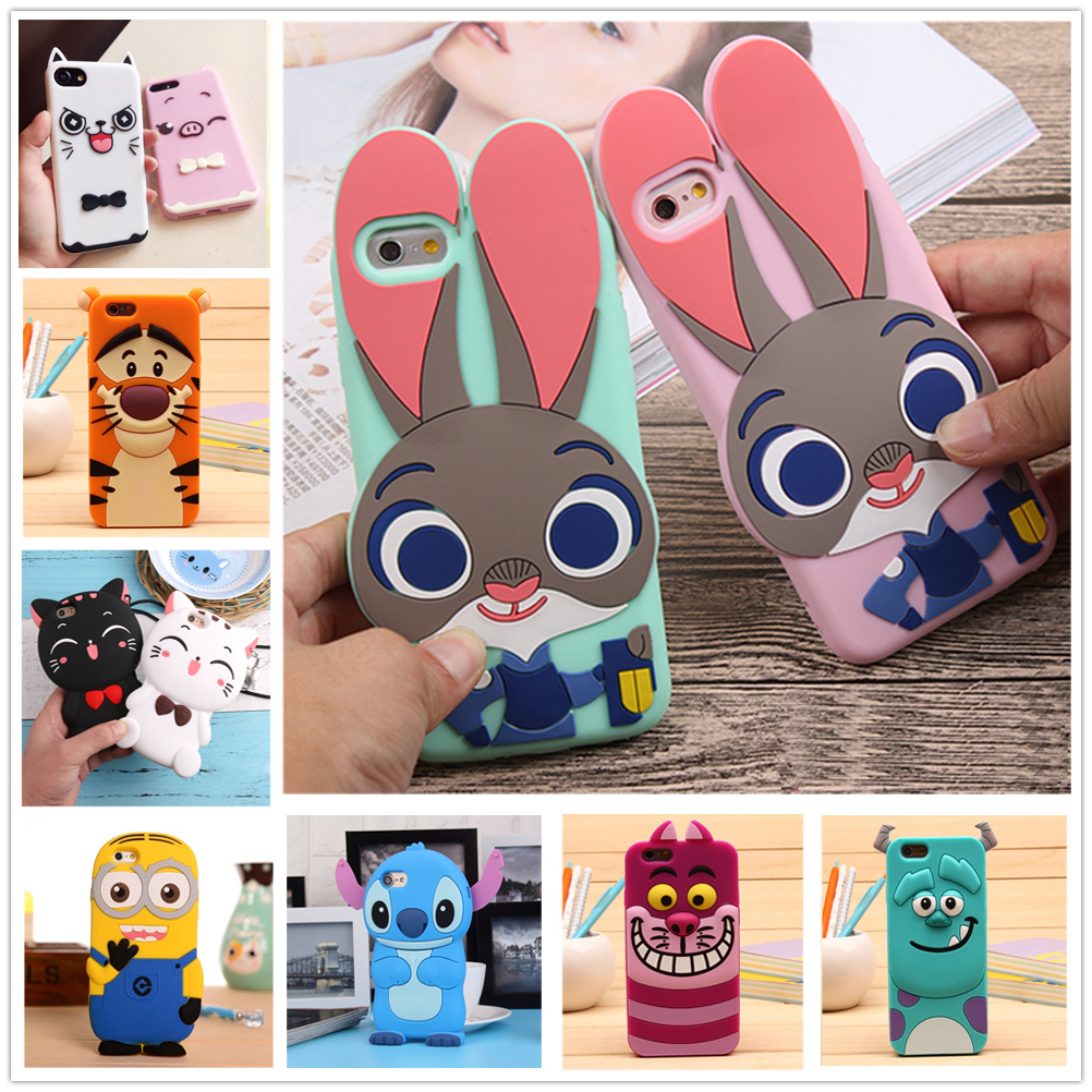 Cover iphone 5 squishy - 3d Cartoon Soft Silicone Phone Case For Iphone 5 5s 6 6s 7 Plus Cover Mickey Judy Rabbit Smile Cat Tiger Stitch Unicorn Animal